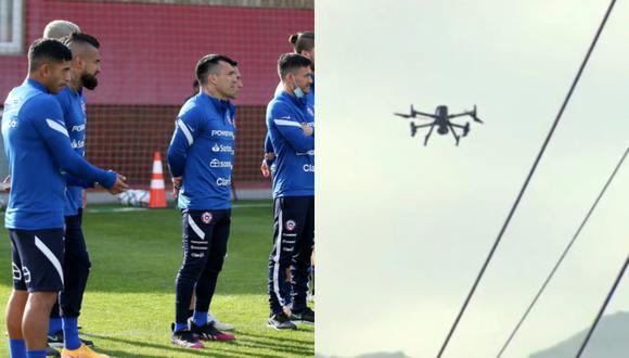 Drone sobrevoló entrenamiento de la selección de Chile y fue derribado.