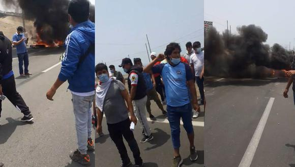 Otros usuarios denunciaron que algunos de los manifestantes habrían hecho uso de piedras para atacar a algunas unidades que intentaron cruzar el tramo bloqueado de la Panamericana Sur. (Foto: Difusión/Twitter)