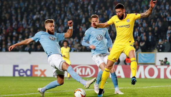 Chelsea consiguió la ventaja en la serie frente a Malmo gracias a Giroud y Barkley. (Foto: Reuters)
