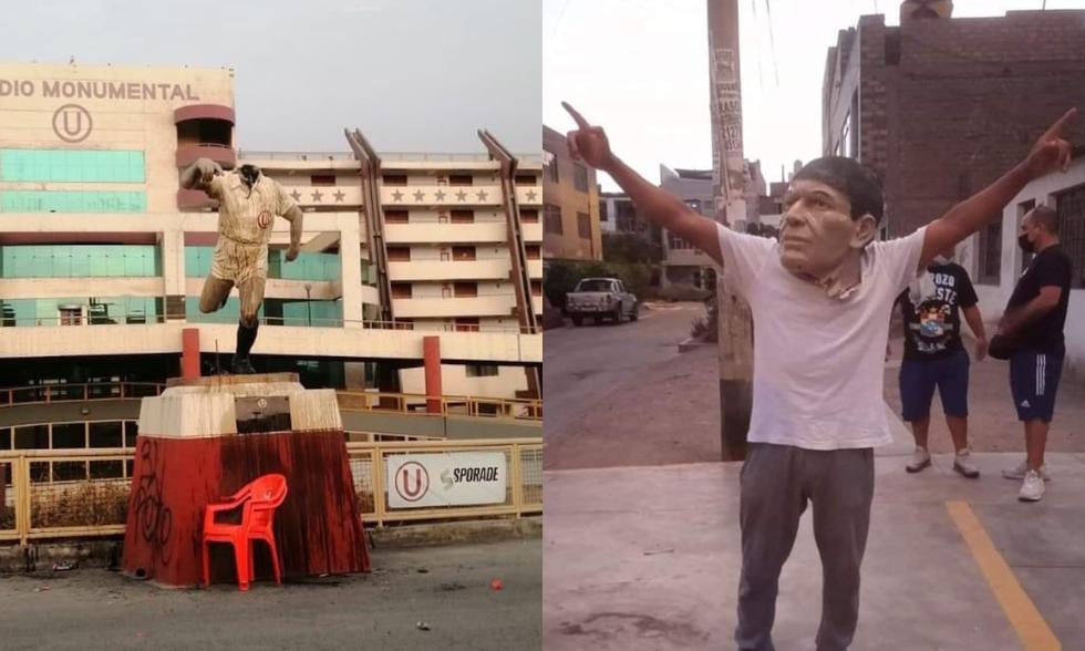 El monumento de Lolo Fernández en el estadio Monumental fue atacado por barristas de Sporting Cristal