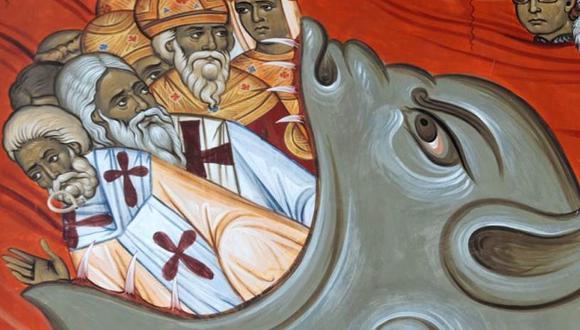 """Este fresco en una iglesia de Montenegro muestra a un grupo de """"pecadores"""" siendo devorados por el infierno. (AFP)"""