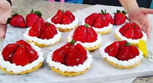 Tres minutos de dulzura: deliciosas tartaletas de fresa