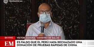 Coronavirus en Perú:  Minsa desmiente haber rechazado donación de 500.000 pruebas rápidas de China