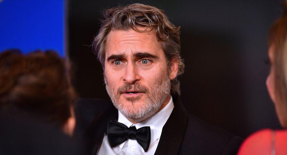 """Joaquin Phoenix, protagonista de """"Joker"""" y favorito al Oscar, en la entrega de los Globos de oro 2020. Foto: AFP."""