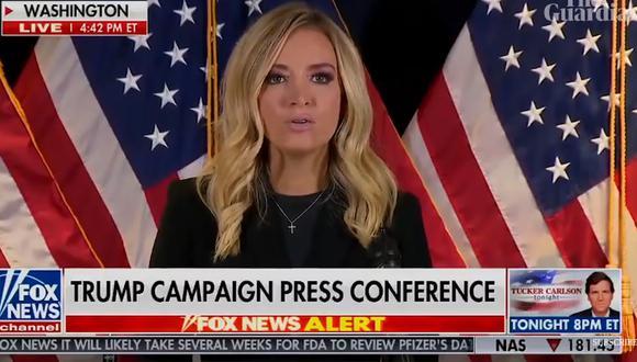 Fox News ha sido durante estos cuatro años la cadena de televisión más afín a Trump, que la utilizado en reiteradas ocasiones como altavoz de entrevistas. Imagen de la rueda de prensa de la portavoz Kayleigh McEnany. (Captura de video/YouTube).