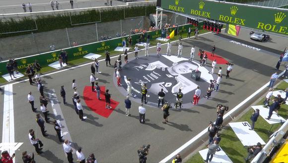 Todos los pilotos rindieron homenaje a Anthoine Hubert. (Captura F1)