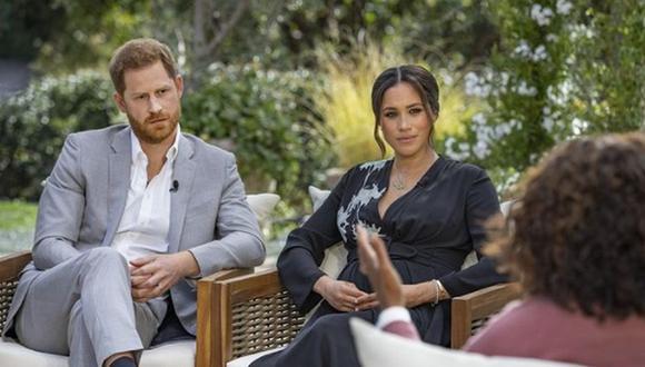 Enrique y Meghan de Sussex durante su entrevista con Oprah Winfrey. (Foto: @cbstv / Instagram)