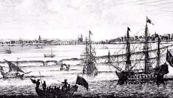 Imagen de 1645 de Mauritsstad, la capital del Brasil neerlandés y hoy parte de la ciudad brasileña de Recife. (Foto: WIKICOMMONS, vía BBC Mundo).