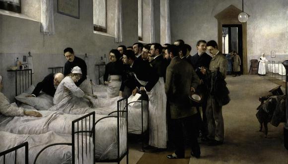 """Cuadro """"La visita al hospital"""" de Luis Jiménez Aranda. 1889."""