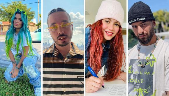 Maluma, Karol G, Shakira y J Balvin son alguno de los artistas nominados. (Foto: Instagram)