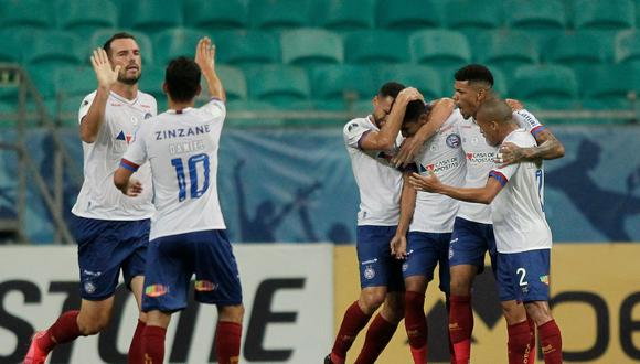 Brazil's Bahia Fessin (3-R) celebrates with teammates after scoring against Peru's Melgar during their closed-door Copa Sudamericana second round football match at the Fonte Nova Arena in Salvador, Brazil, on November 5, 2020, amid the COVID-19 novel coronavirus pandemic. / AFP / Arisson MARINHO