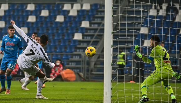 Cristiano Ronaldo ha marcado el primer gol a favor de Juventus ante Napoli en la Supercopa de Italia.   Foto: AFP