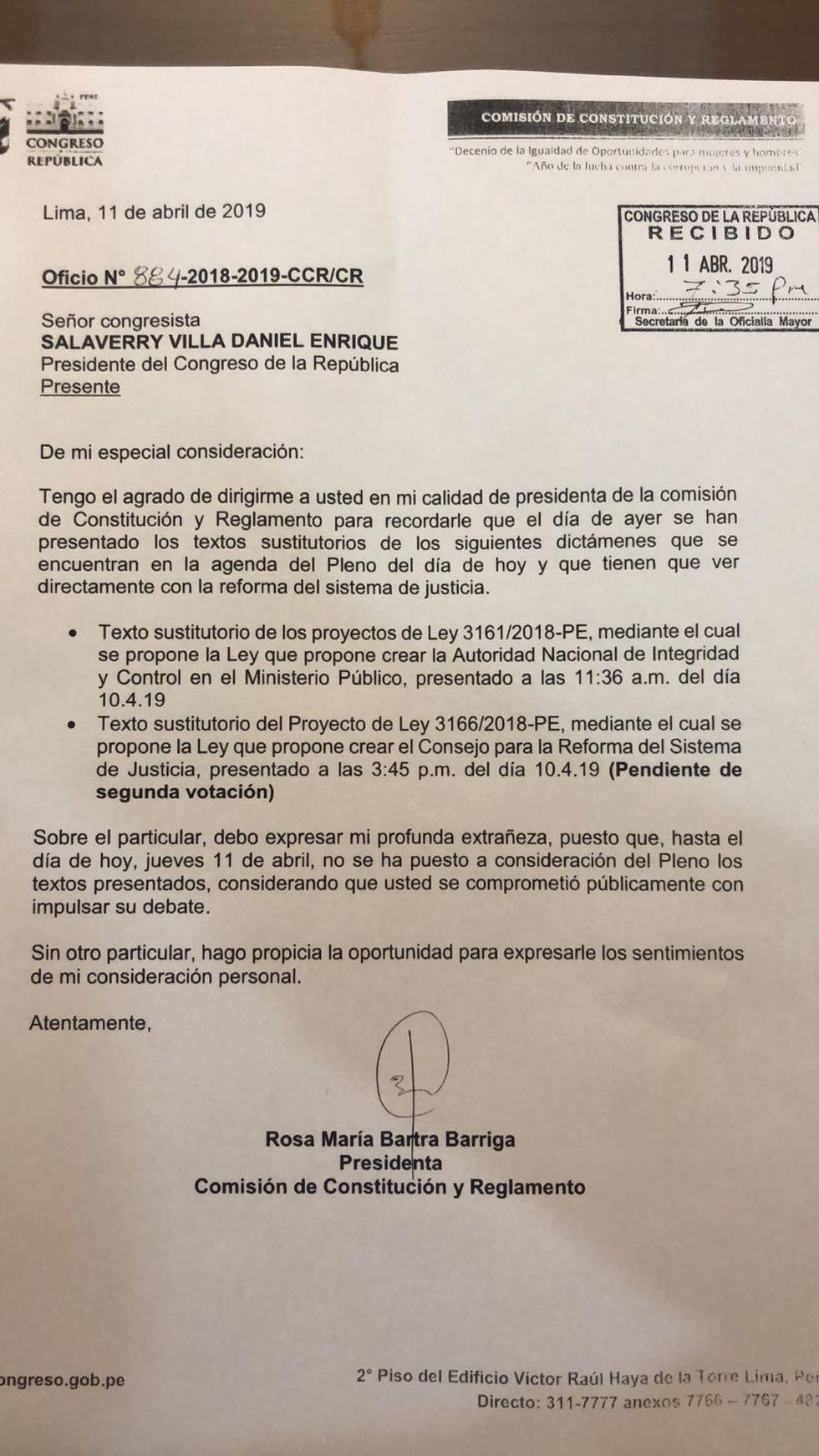 El oficio que Rosa Bartra remitió la semana pasada al presidente del Congre pidiendo que se ponga al debate proyectos de la reforma de justicia.