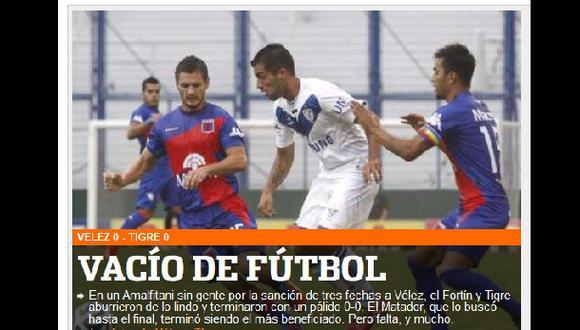 Atentos los cremas: Vélez empató 0-0 de local ante Tigre