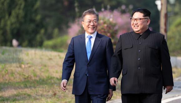 """La dos Coreas se comprometieron a cooperar para establecer una """"paz permanente"""" en la península. (Foto: AFP)"""