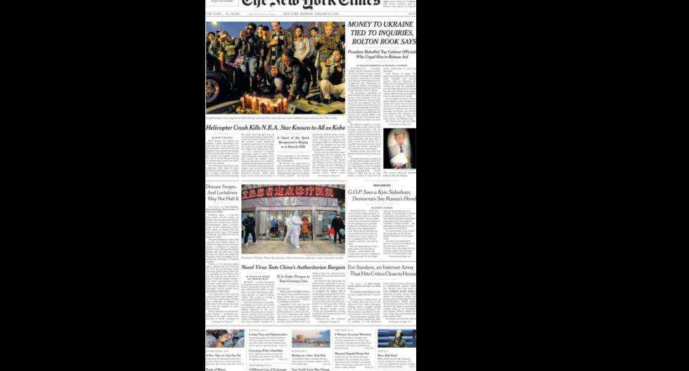 La portada de The New York Times. (Foto: Difusión)