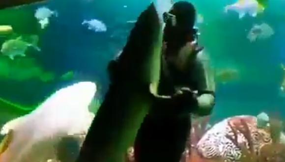 Así fue como este buzo se puso a bailar 'tiempo de vals' con un tiburón bajo el agua. (Foto: RT)