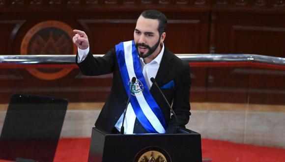 El presidente salvadoreño Nayib Bukele pronuncia su discurso anual a la nación marcando su segundo año en el cargo en la Asamblea Legislativa en San Salvador. (Foto: MARVIN RECINOS / AFP).