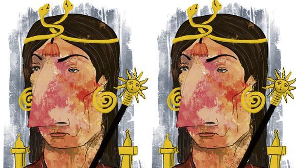 """""""Las 800 páginas de la novela (sí, 800) se sostienen sobre esta intriga. Intriga espuria, claro, pues sabemos que Atahualpa fue asesinado sin intento de liberarlo"""". (Ilustración: Giovanni Tazza)"""