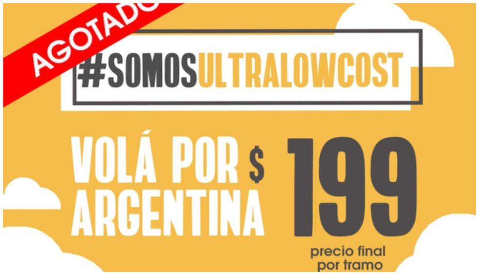 Actualmente, los precios de la aerolínea low cost FlyBondi se encuentran en $249 pesos por tramo; pues la oferta de $199 se agotó.
