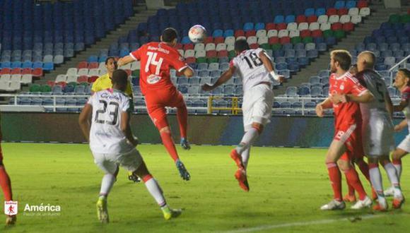 Quiñonez (América de Cali) y Velasco (Once Caldas) anotaron los goles del empate | Foto: Twitter América de Cali