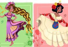Princesas Disney: ilustradora las dibuja luciendo trajes mexicanos   FOTOS