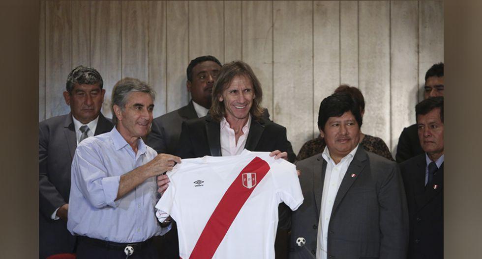 Día en que Ricardo Gareca fue presentado como entrenador de la selección peruana de fútbol en el auditorio del Complejo Deportivo de la Federación, en la Videna. (Foto: Alonso Chero)