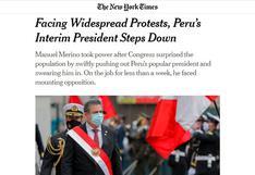 Así informa la prensa mundial sobre la renuncia de Manuel Merino tras las masivas protestas en el Perú