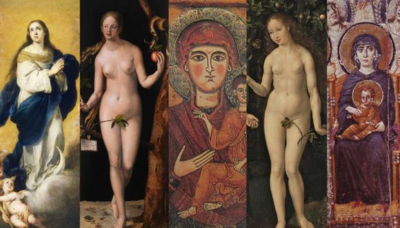 A lo largo de la historia la Virgen María ha sido representada como la madre por excelencia dentro de la religión católica. Eva, a pesar de ser la primera madre dentro de esta tradición, siempre ha sido relacionada solo con la serpiente y el pecado (Collage: El Comercio)