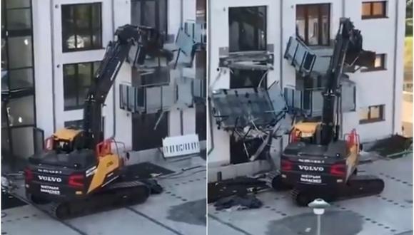 Furioso trabajador derribó departamentos que él mismo construyó por una deuda. (Foto: @RebeccaRambar / Twitter)