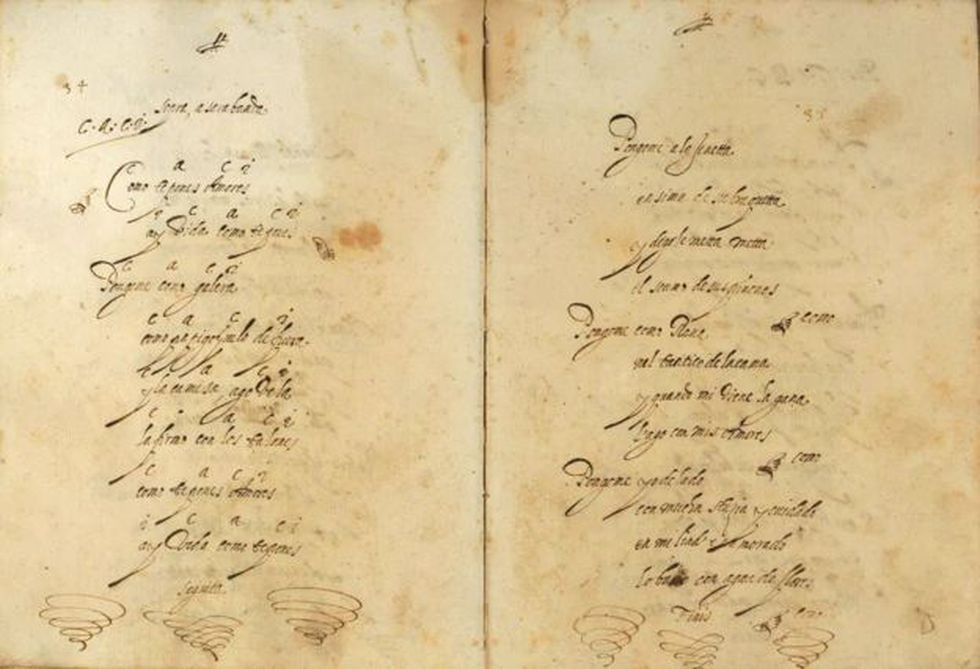 Letra de la zarabanda '¿Cómo te pones, amores?' con indicaciones armónicas. Verona, Biblioteca Civica