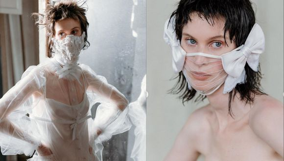 El diseñador neoyorquino Jackson Wiederhoeft ha incluido una selección de mascarillas para novias en su última colección bridal.  (Fotos: IG/ @wiederhoeft_)