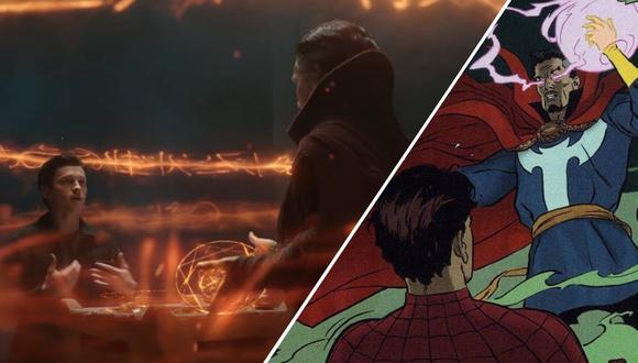 """Dos Peter Parker, la misma elección. A la izquierda Tom Holland y Benedict Cumberbatch en el tráiler de """"Spider-Man: No Way Home"""". A la derecha Peter Parker pide borrar la memoria de su identidad en todo el mundo a Stephen Strange. (Fuente: Marvel Studios/Sony Pictures/Marvel Comics)"""