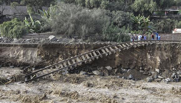 Chaclacayo: río Rímac destruye vías del tren [VIDEO]