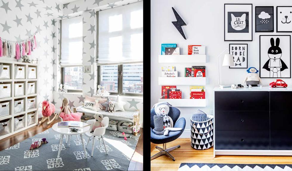 Izquierda y derecha: aplica en las paredes tonos grises, blancos y negros. Puedes forrar las paredes con papel decorativo o colgar cuadros con estos tonos. (Foto de Sissy and Marley).