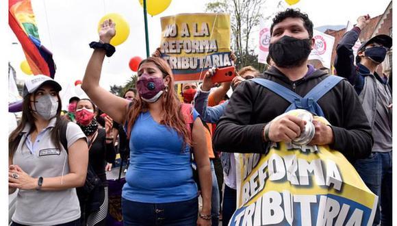 Miles de colombianos marcharon en contra del proyecto de reforma tributaria. (Getty Images).