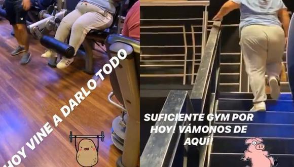 El hombre utilizó sus redes sociales para burlarse de la joven que se encontraba haciendo ejercicio (Foto: Capturas de historias de Instagram)