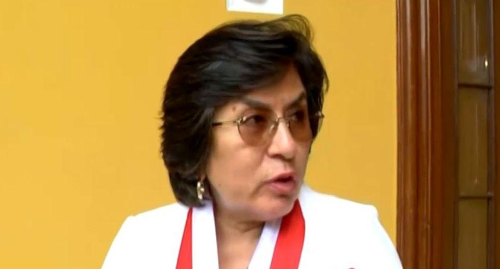 La presidenta del TC, Marianella Ledesma, declaró luego de la sesión del tribunal de esta mañana. (TV Perú)