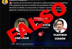 #DateCuenta: Cuenta falsa con logo de El Comercio difunde en Twitter supuesta conversación entre Pedro Castillo y Vladimir Cerrón