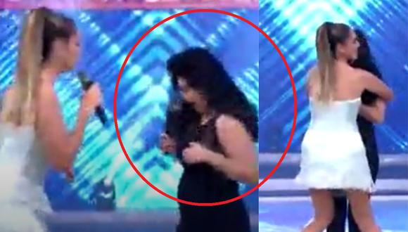 """Tula Rodríguez sufre incidente con vestuario en el set de """"En boca de todos"""". (Foto: Captura América TV)."""