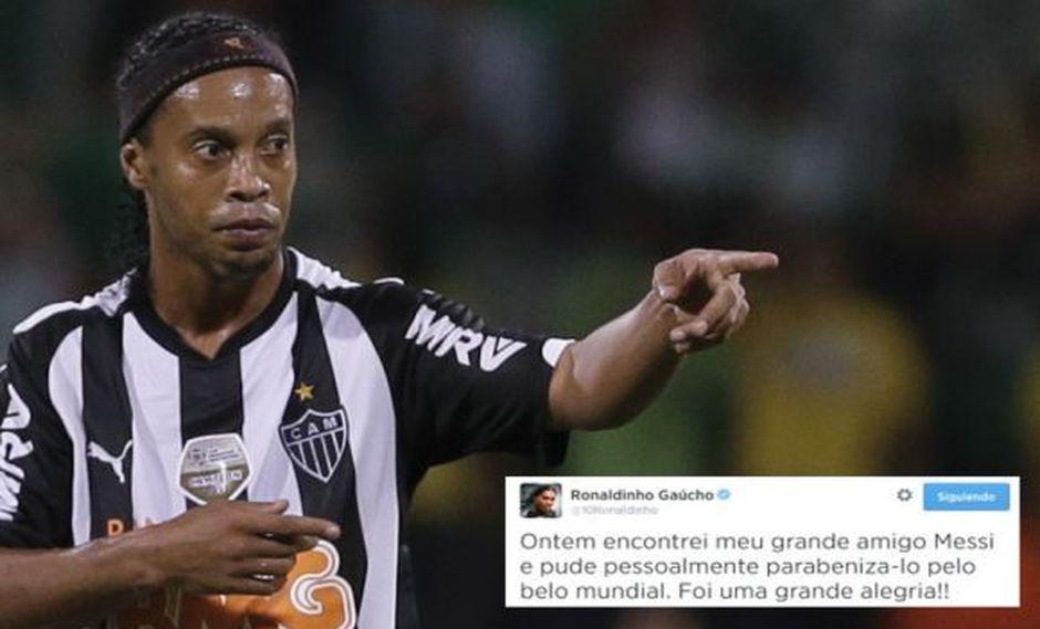 """Ronaldinho a Messi: """"Felicitaciones por el hermoso Mundial"""""""