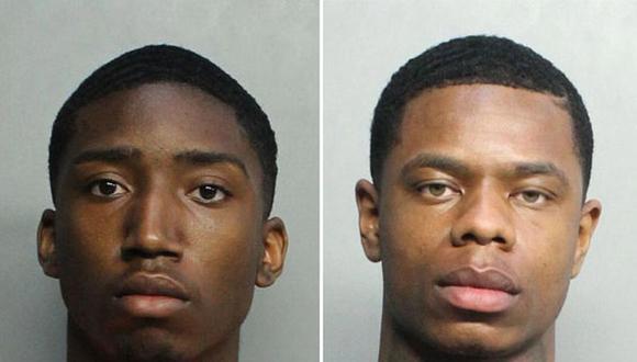 Evoire Collier, de 21 años, y Dorian Taylor, de 24, ambos residentes de Carolina del Norte, afrontan cargos de robo con violencia, agresión sexual, hurto menor y uso fraudulento de tarjeta de crédito, de acuerdo al expediente judicial de las autoridades de Miami Beach.