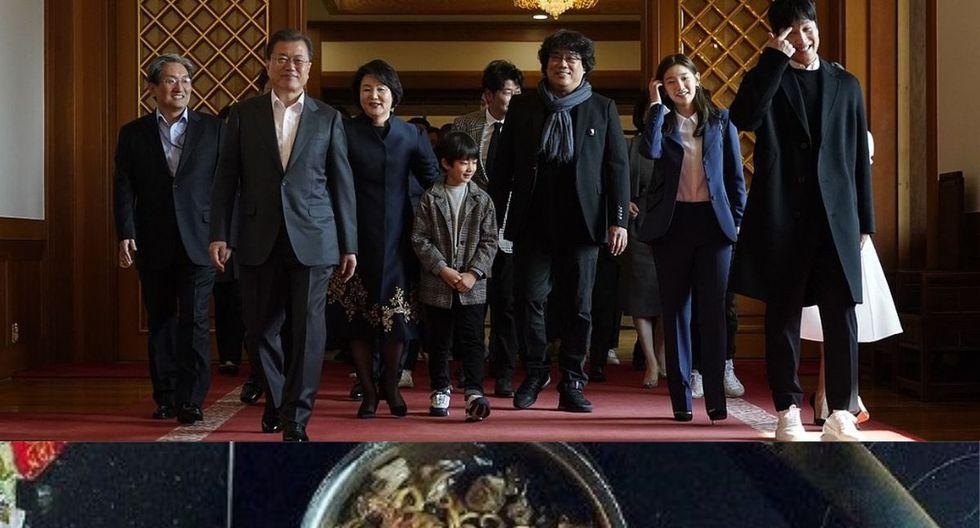 Bong Joon-Ho y 20 miembros del elenco llegaron para almorzar con Moon Jae-in y se dieron con la sorpresa que iba a servir 'chapaguri', el platillo que se hizo más famoso con la película. (Foto: AFP / Twitter)