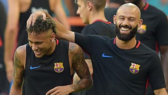 Neymar y Javier Mascherano fueron compañeros en Barcelona durante cuatro temporadas. (Foto: AFP)