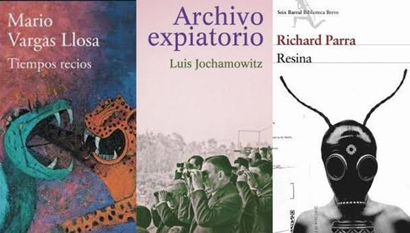 """""""Tiempos recios"""" de Mario Vargas Llosa; """"Archivo expiatorio"""" de Luis Jochamowitz; y """"Resina"""" de Richard Parra. (Foto: Difusión)"""