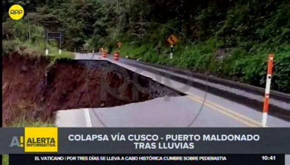 Colapsa vía Cusco - Puerto Maldonado tras desborde de río Araza por lluvias (Captura: RPP Noticias)