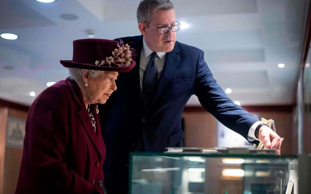 During a visit to the Queen's 2020 MI5 headquarters, Parker displayed a variety of artifacts related to the secret agents who helped fool the Nazis about where D-Day would land during World War II.  (Photo: AFP)