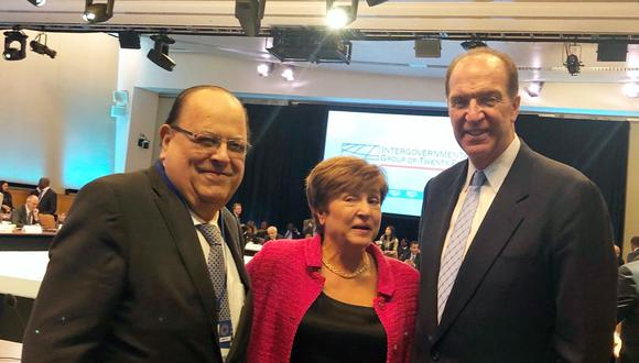 Julio Velarde acudió a la cita como presidente del G24. Participaron también Kristalina Georgieva, directora gerente del FMI y David Malpass, presidente del Grupo Banco Mundial. (Foto: BCR)