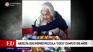 'Mamá Coco' celebró su cumpleaños 108 con un pastel de su personaje