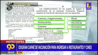 Ica: Exigirán 'carnet de vacunación' para ingresar a cines y restaurantes